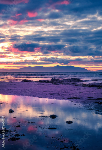 The Isle of Arran from Doonfoot, Ayrshire in Scotland Canvas Print