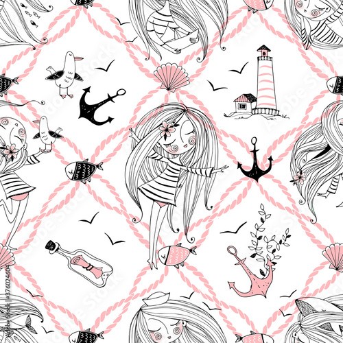 Fototapeta Seamless pattern on the sea theme with cute girls, whales and seagulls in a cute Doodle style