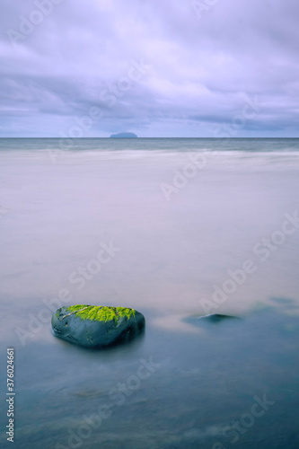 Ailsa Craig from Croy Shore, Ayrshire in Scotland Fotobehang