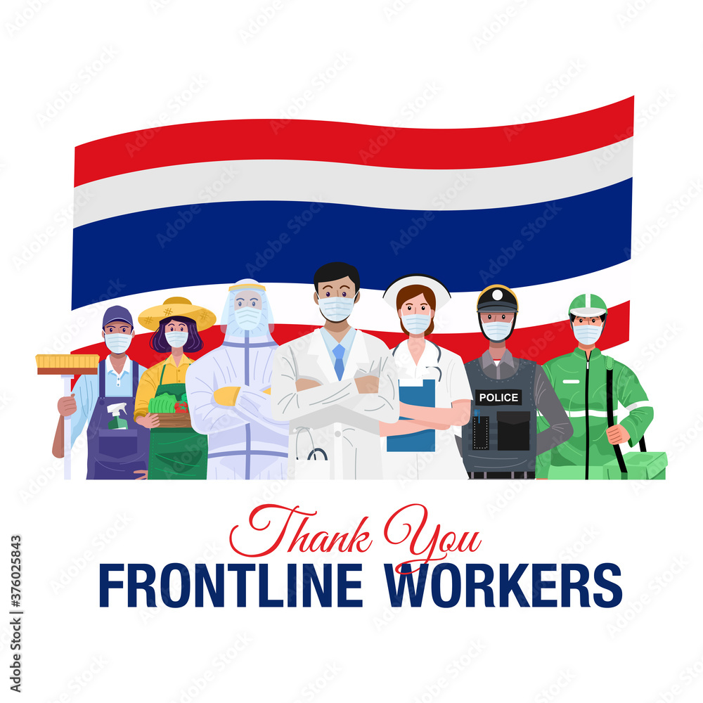 Fototapeta Thank you frontline workers. Various occupations people standing with flag of Thailand. Vector