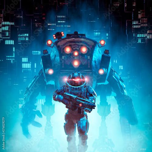 Fototapeta Cyberpunk soldier mech patrol / 3D illustration of science fiction military cybo