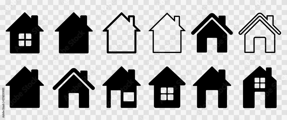 Fototapeta Home flat icon set vector illustration