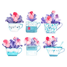 Tea Of Flowers Watercolor Illu...
