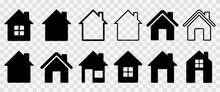Home Flat Icon Set Vector Illustration