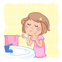 Hygiene - Daily Routine Of A Little Girl With Light Brown Hair - Good Morning Sunshine - Washing Face
