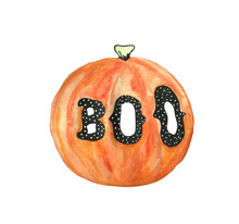 Watercolor Halloween Pumpkin W...