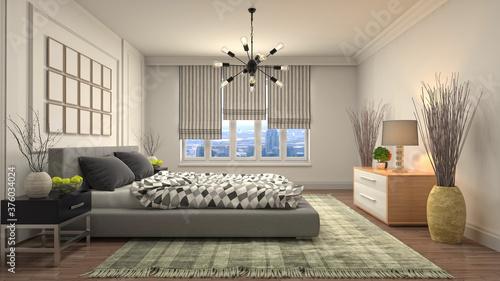 Fotografie, Obraz Bedroom interior. Bed. 3d illustration