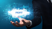 Hand Of Businessman Holding PROFIT Inscription, Successful Business Concept