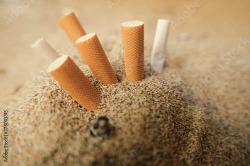 Isolated used cigarette butts discarded on sandy sea beach,ecosystem habitat pol Wallpaper Mural