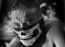 Image Of Man With Skeleton Mas...
