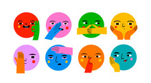 Round Abstract Comic Faces With Various Emotions And Hand Gestures. Different Colored Characters. Cartoon Style. Flat Design. Hand Drawn Trendy Vector Illustration. Every Face Is Isolated