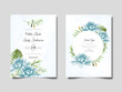 wedding invitation template with beautiful and elegant floral watercolor
