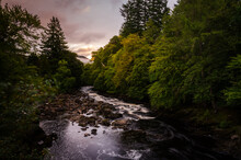 The Falls Of Dochart At Dusk, Killin, Highlands, Scotland