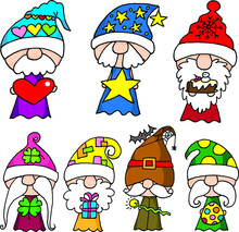 Vector Cartoon Seven Dwarfs Picture