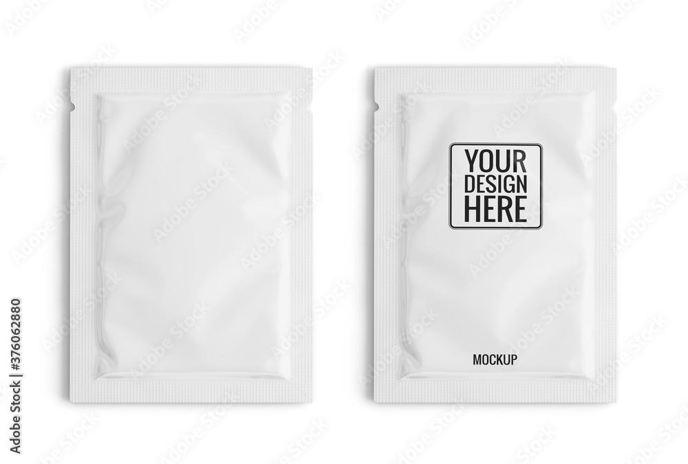 Fototapeta Blank white sachet packet isolated on white. Small pack sachet mockup. 3d rendering