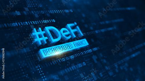 Photo DeFi -Decentralized Finance on dark blue abstract polygonal background