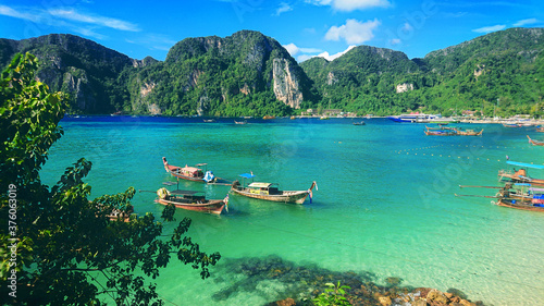 Beautiful view on the mountains and sea in the Phi Phi Don island near Phuket Island in Thailand Wallpaper Mural
