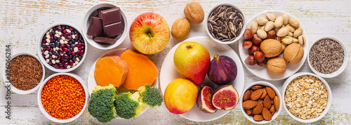 Foto Products rich in fiber. Healthy diet food.
