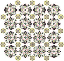 Beige And Brown Floral Patterns On The White Background