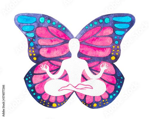 Photo Dipinto acquerello yogi in posizione del loto