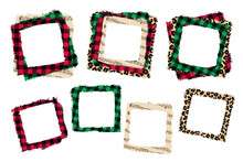 .Christmas Various Frames Set .Buffalo Plaid, Leopard And Music Page Background. Vector Illustration.
