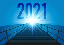 L'année 2021 Avec Le Concept De L'objectif à Atteindre Pour L'avenir D'une Entreprise. L'illustration Utilise Le Symbole D'un Ponton Traversant L'océan En Direction Du Soleil Qui Brille à L'horizon.