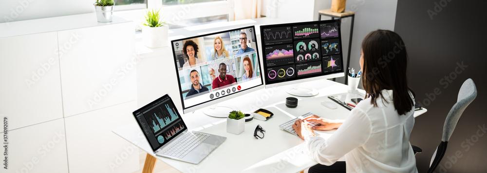 Fototapeta Watching Video Conference Business Webinar
