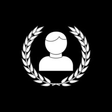 Laurel Wreath Icon With A Male Avatar Isolated On Dark Background