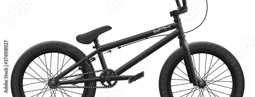 Canvas Print Black BMX bicycle mockup - right side close-up