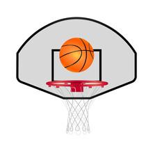 Realistic Basketball Ball And Hoop Icon. Vector Illustration Eps 10