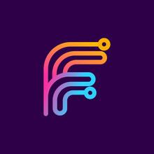 Multicolor F Letter Logo Made ...
