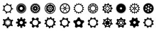 Set Different Gears Icons, Collection Gear Wheel Sign, Cogwheel - Stock Vector