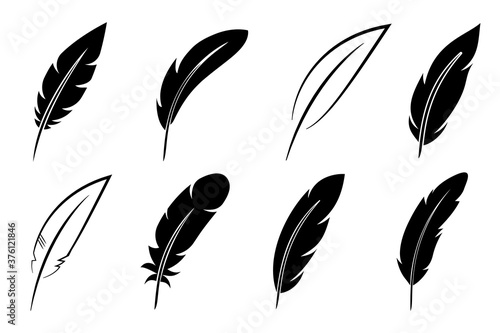 Set feather icon sign – vector Canvas-taulu