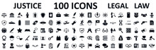Legal, Law And Justice 100 Icons Set - Stock Vector