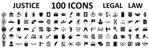 Fényképezés Legal, law and justice 100 icons set - stock vector