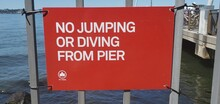 No Jumping From Pier Sign