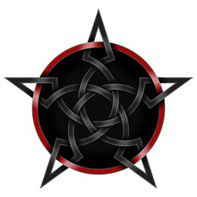 Interlocking Star Design In Black And Red Celtic Style