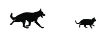 Dog Chases Cat Vector Silhouet...
