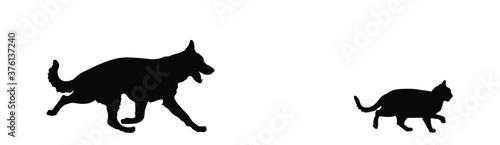 Fotografie, Obraz Dog chases cat vector silhouette illustration isolated on white background