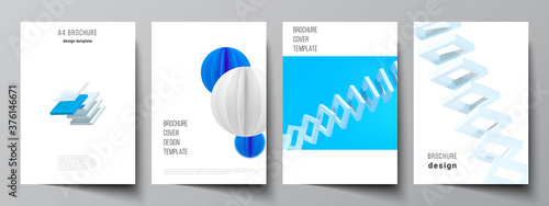 Fototapeta Vector layout of A4 cover mockups templates for brochure, flyer layout, booklet, cover design, book design. 3d render vector composition with dynamic realistic geometric blue shapes in motion. obraz