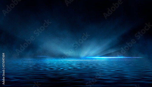 Abstract dark futuristic blue night background. Rays and lines, lightning, lights. Blue neon light, symmetrical reflection in water, futuristic landscape, stage. 3D illustration.