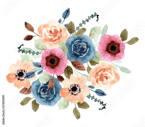 Fototapeta colorful floral garden watercolor bouquet