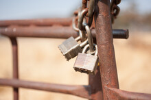 Old Rusty Padlock On Chain