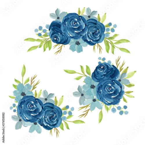 Fotografia, Obraz Watercolor hand painted navy rose flower bouquet