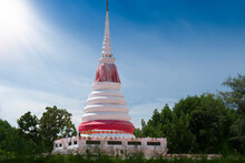 Rayong Thailand, September 5,2020 : The Pagoda On The Water, A Natural Structure Surrounded By Mangrove Forests And Large Rivers. At Pak Nam Rayong Thailand.