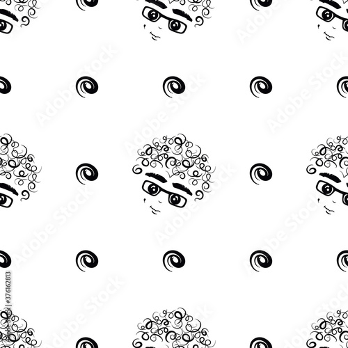 curly-headed boy (dimply) seamless repeat pattern in next-level black and white Fototapeta