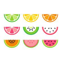 Set Tropical Fruit Slices, Watermelon, Orange, Lime, Dragon Fruit, Papaya, Lemon, Grapefruit And Kiwi, Vector Icons