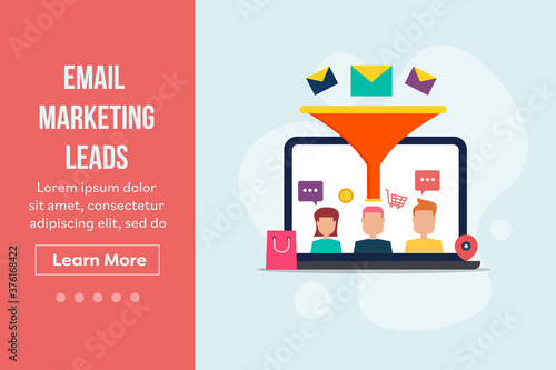 Vászonkép Email marketing - sales funnel strategy for lead generation