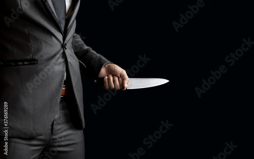 Cuadros en Lienzo businessman holding knife for blackmail concept.