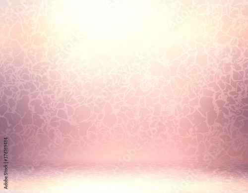 Tablou Canvas Floral pattern on pink gloss textured wall and floor 3d illustration